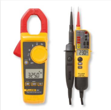 5 Fluke 325 Clamp Meter with a Fluke T130 Two pole Voltage and Continuity Tester in one very attractive kit