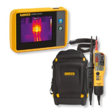 6 Fluke PTi120 Pocket Thermal Camera with a T150 two pole Continuity and Voltage Tester and the Fluke Pack30